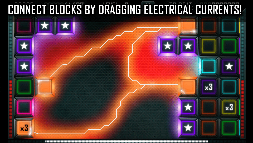 Drag Electrical Currents To Connect And Destroy Blocks