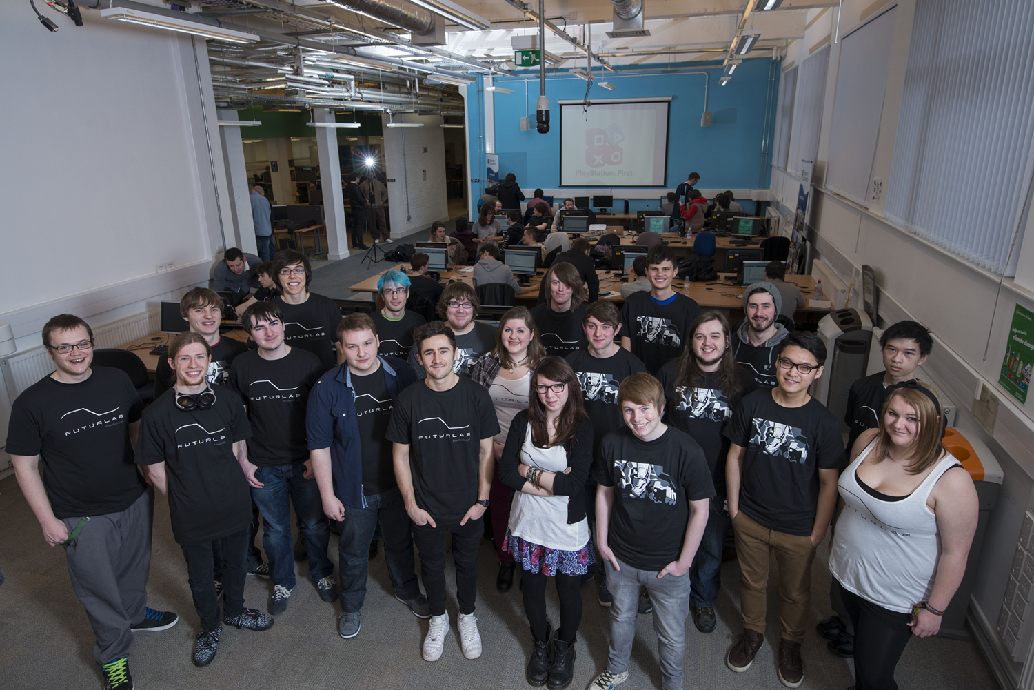 FuturLab's satellite teams ('Velocity Raptors' & 'Sasquatch') at Abertay University's PlayStation Vita Lab, a new initiative to get students ready for the workplace.
